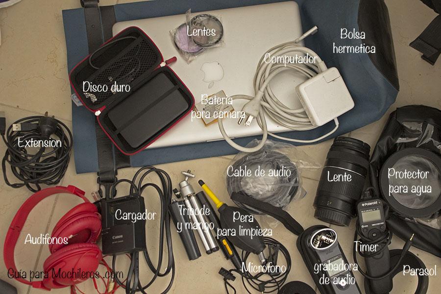 camara y computador para viaje